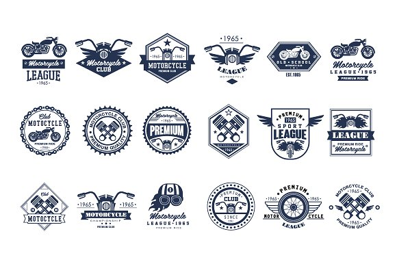 Badges, emblems Motorcycle Set in Illustrations
