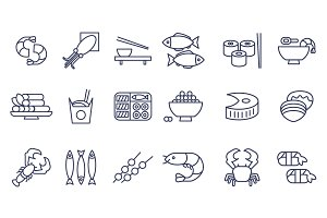 Seafood icons, thin line style, flat