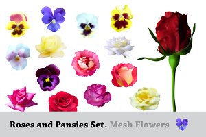 Roses and Pansies Set