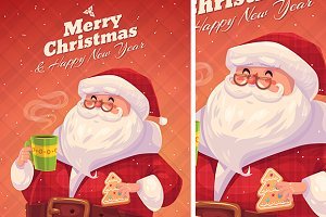 Funny santa with cookie