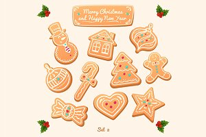 Vector gingerbread cookies