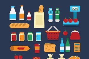 Big set of food products. Vector.