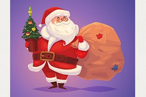 Funny santa with bag of presents