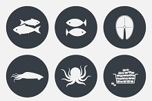 Set of seafood icons.