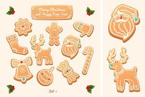 Big set of vector gingerbread