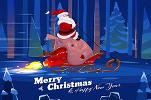 Funny santa with present