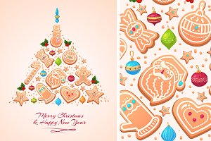 Vector Christmas Tree Cookies