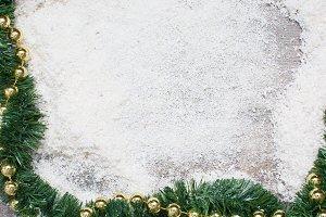 Green garland and golden balls