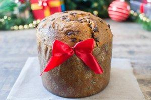 Christmas chocolate cake panettone