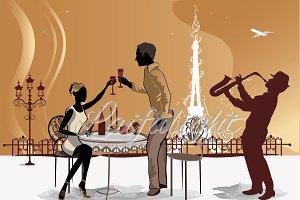 Romantic couple drink coffee