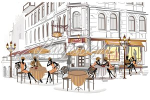 Series of street cafes in the city