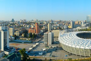 Kyiv panorama with Olympic stadium