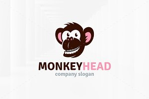 Monkey Head logo Template