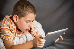 Boy using tablet