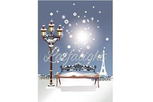 Christmas card, Winter in Paris