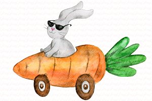 Easter bunny. Carrot clipart