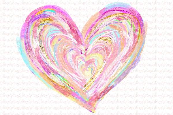 Heart hand drawn. Gold clipart