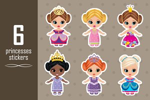 Set of stickers with princesses.