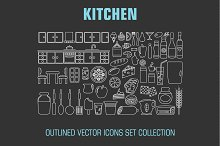 Outline set cooking and food icons