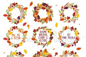 Autumn Wreath Clipart and Vectors