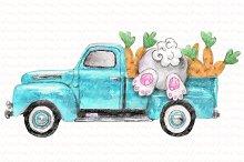 Easter truck blue bunny carrot