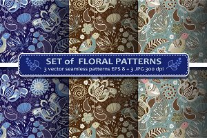 Set Paisley Seamless Pattern