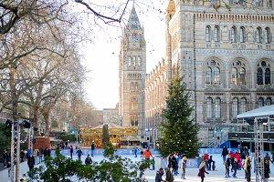 Ice skating in London in winter