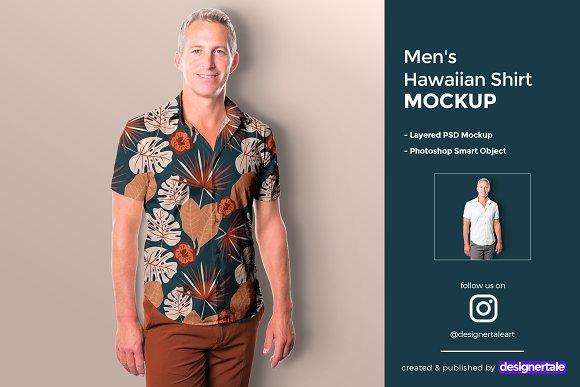 mens hawaiian shirt mockup image preview 1