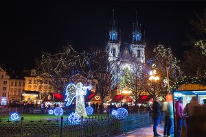 Christmas decorations in Prague