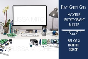 Navy & Green Mockup Bundle #3