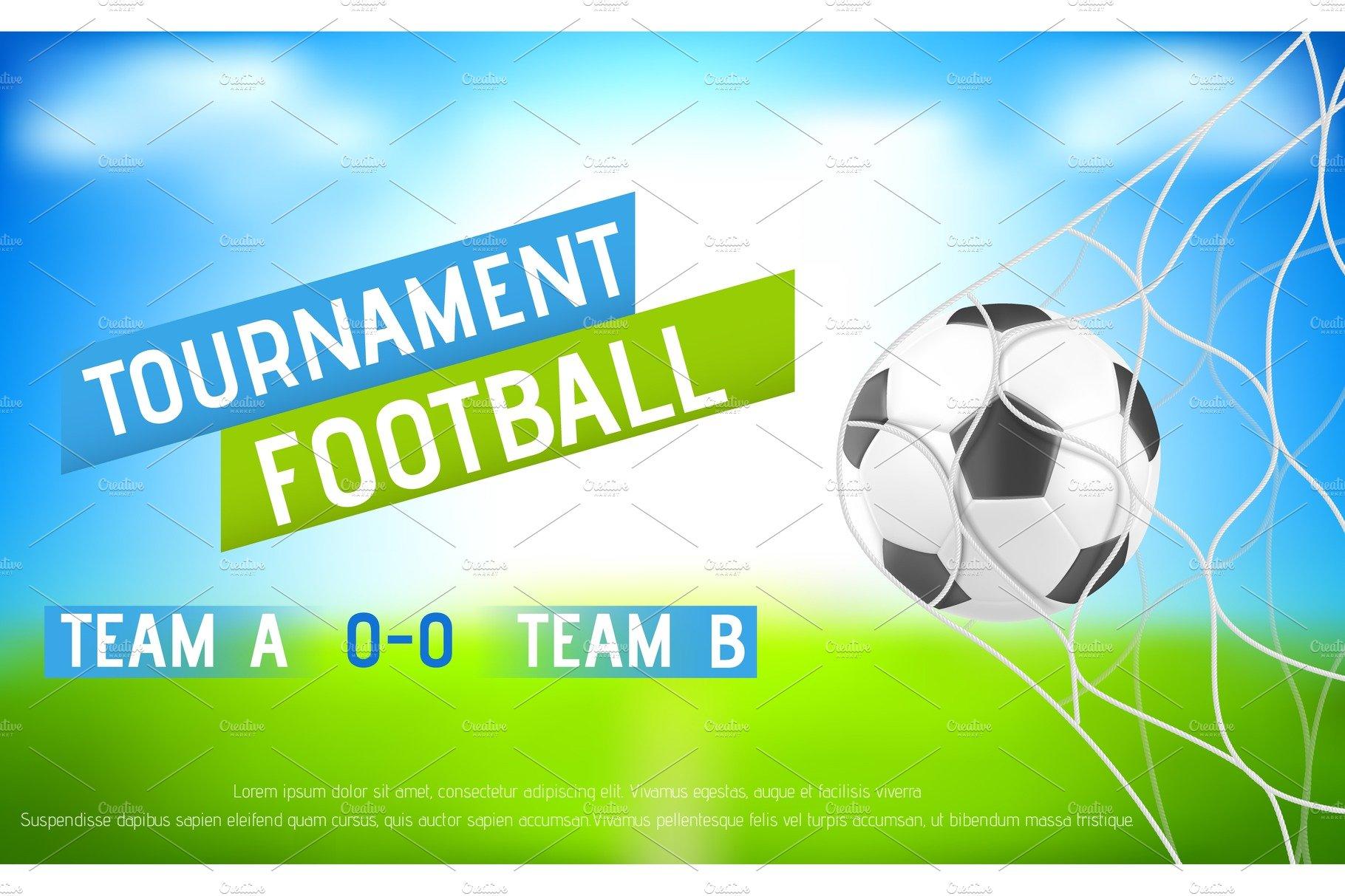 Football Tournament Banner With Ball Custom Designed