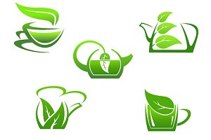 Green herbal tea cups