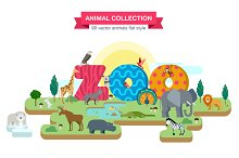 ZOO Flat Animals vector collection