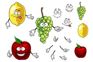 Cartoon smiling apple, grape and lem