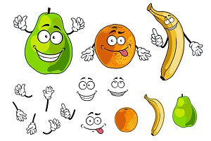 Banana, pear and orange smiling frui