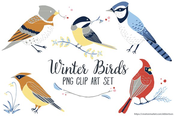 Winter bird clip art winter clipart illustrations creative market winter bird clip art winter clipart illustrations voltagebd Choice Image