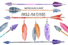 Watercolor Arrows and Feathers