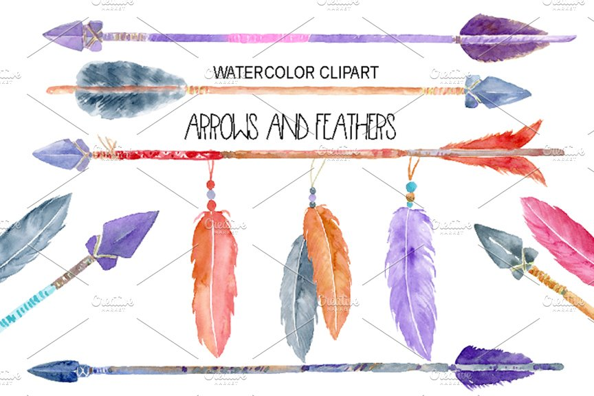 watercolor arrows and feathers illustrations creative market