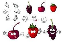 Cartoon cherry, strawberry and black