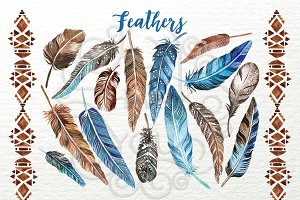 Feathers-watercolor clip-art