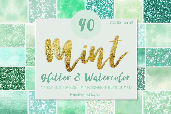 Mint Glitter & Watercolor Textures
