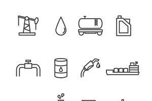 Oil and petrol industry line icons