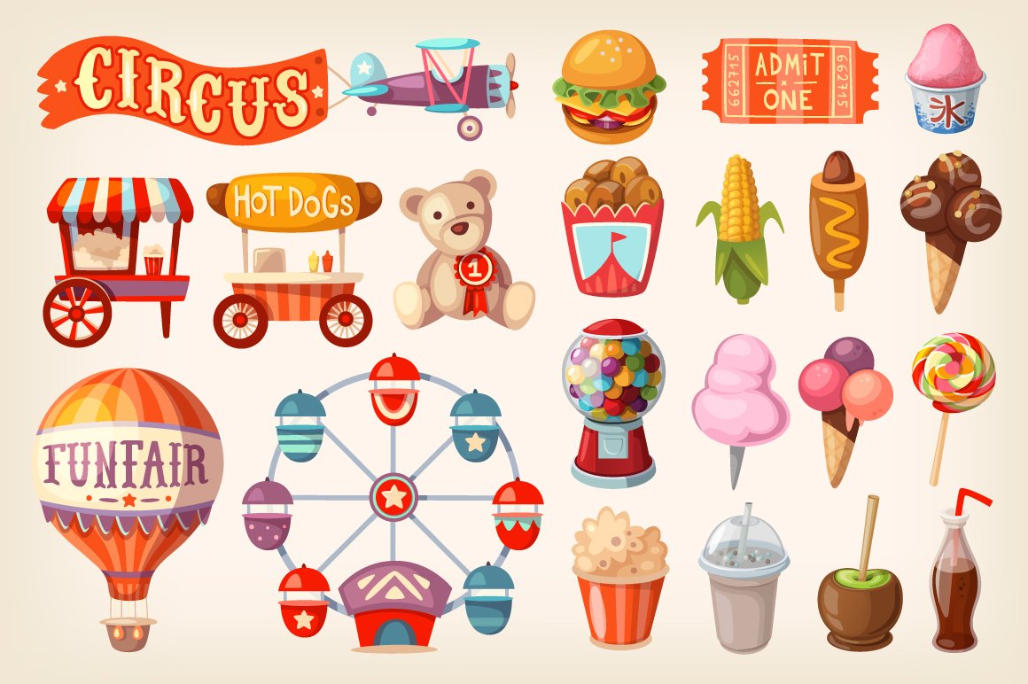 Set of fun fair food and elements ~ Illustrations ...