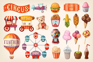 Set of fun fair food and elements