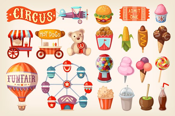 Set of fun fair food and elements - Illustrations