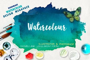 Megapack watercolor for design