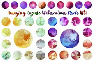 Cosmic watrcolor circles textures
