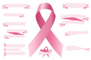 set of pink ribbons