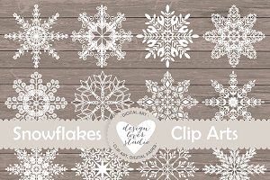 Vector rustic snowflakes cliparts