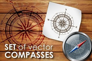 Vector compasses bundle.
